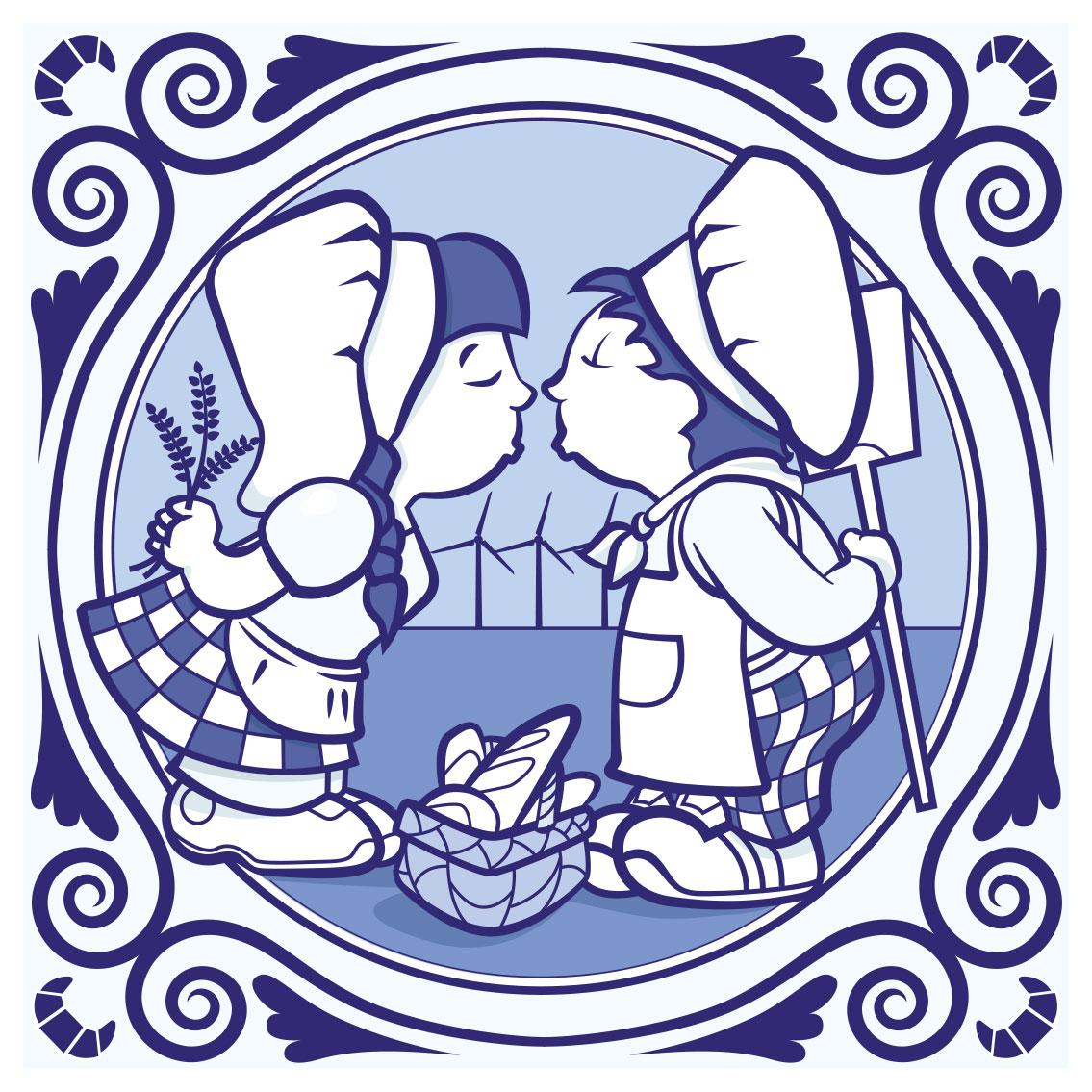 Delfts Blauw - Kussende bakkers